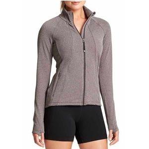 Athleta Hope Herringbone Full Zip Jacket Taupe